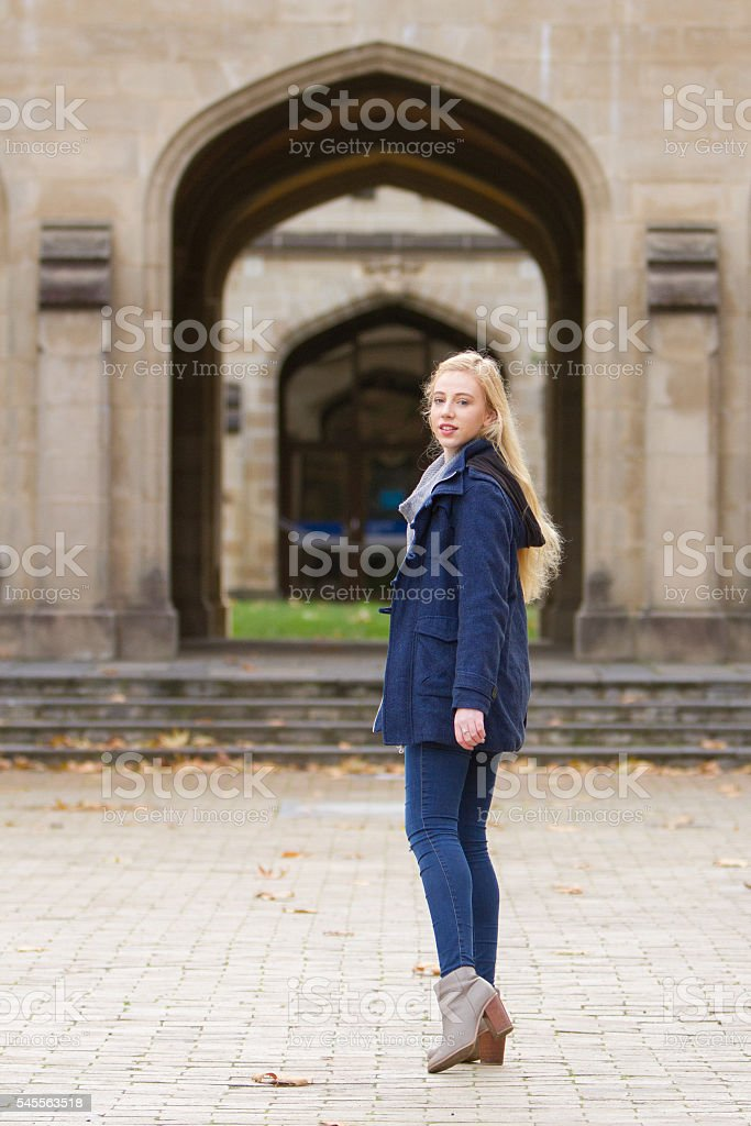 Student Looking Back stock photo