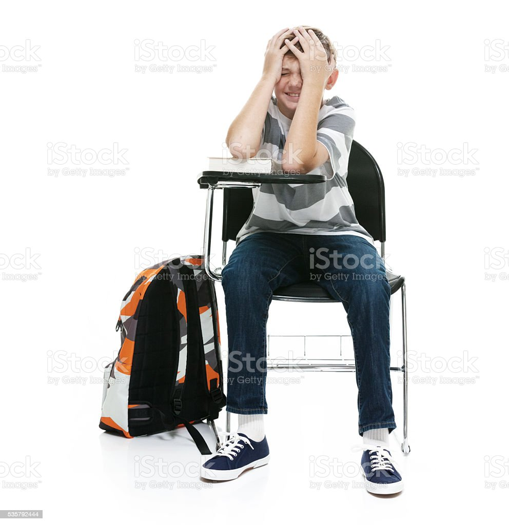 Student looking stressed stock photo