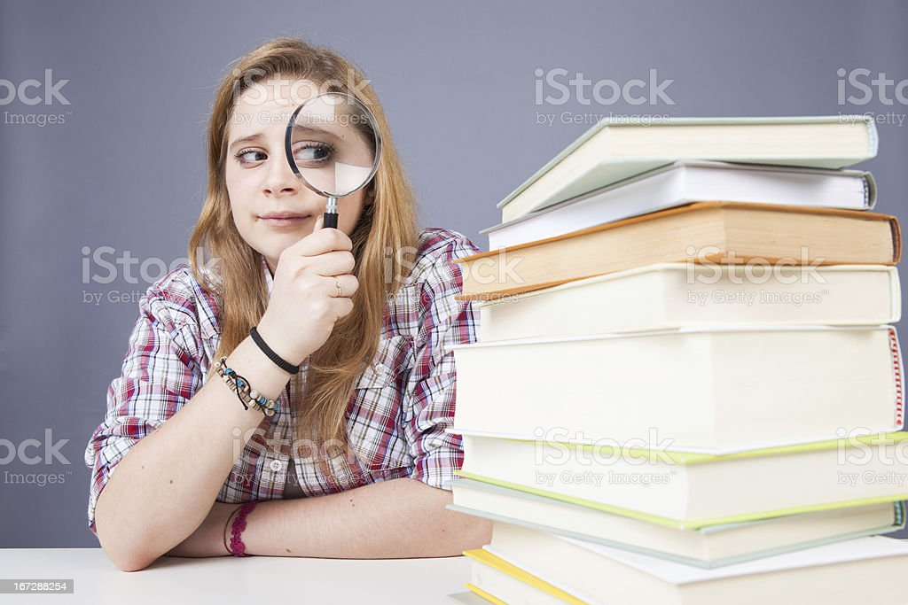 Student looks concerned books royalty-free stock photo