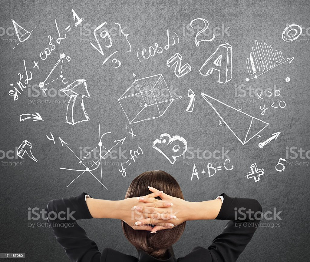Student math symbols overhead stock photo