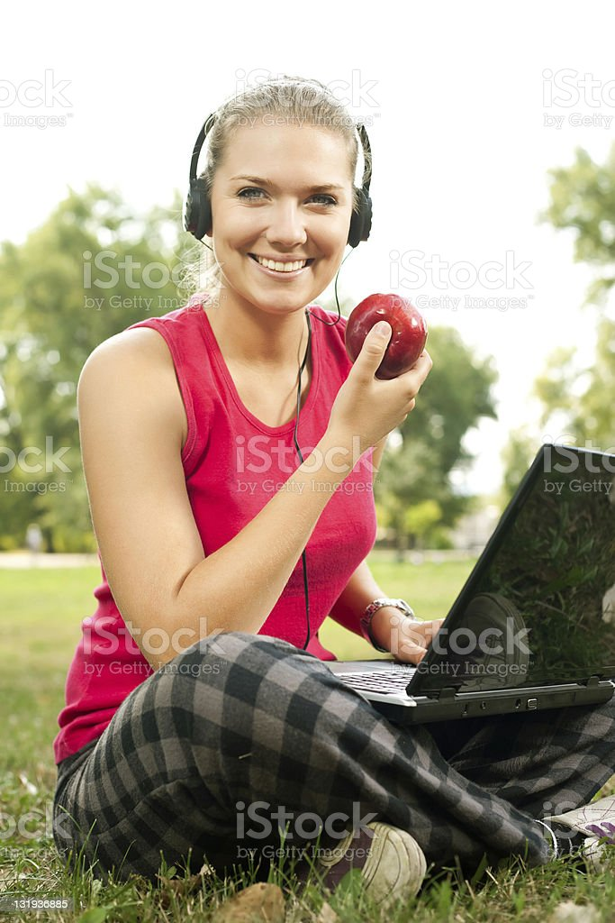 student on break in park royalty-free stock photo