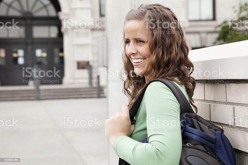 Student on Campus with Book Bag royalty-free stock photo