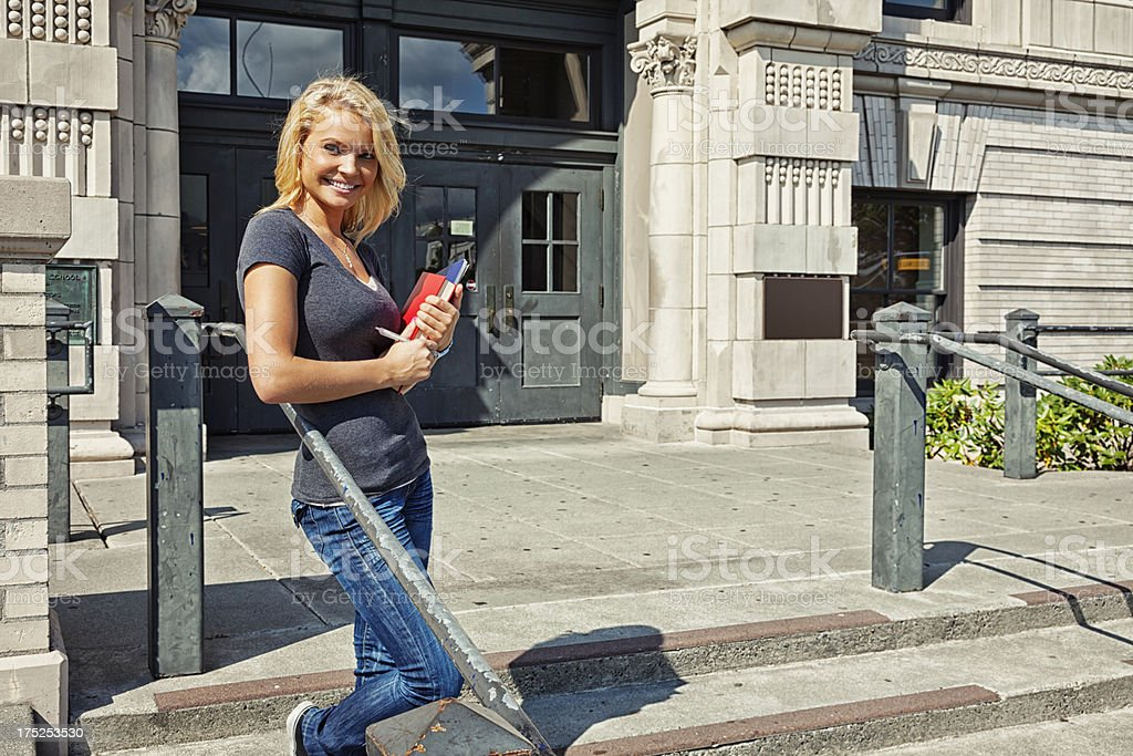 Student on Campus with Books royalty-free stock photo