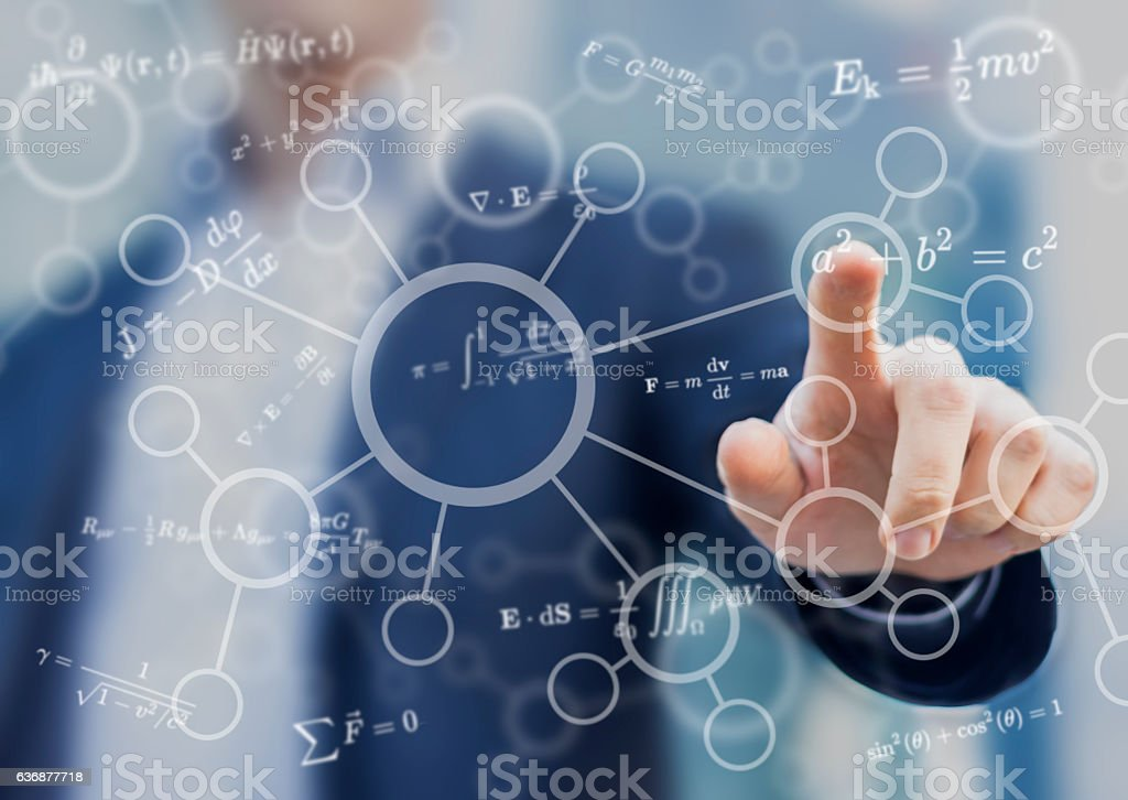 Student or teacher touching mathematical and scientific concepts stock photo