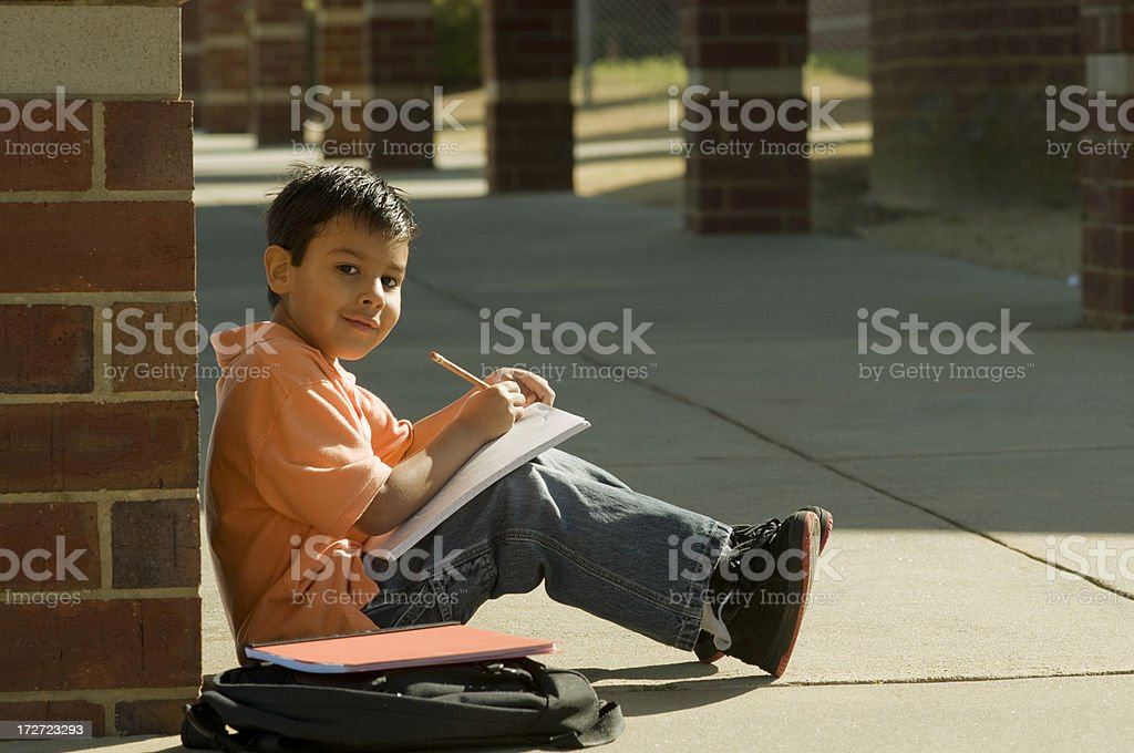 student outdoors royalty-free stock photo