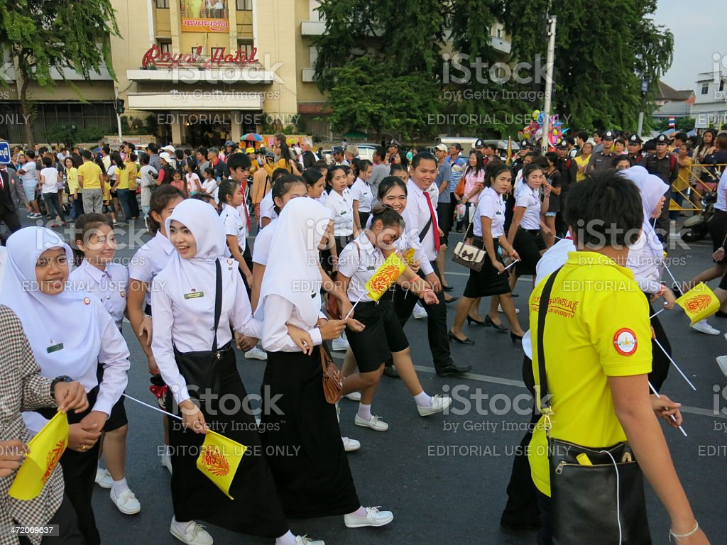 Student parade to celebrate Father's Day in Thailand royalty-free stock photo
