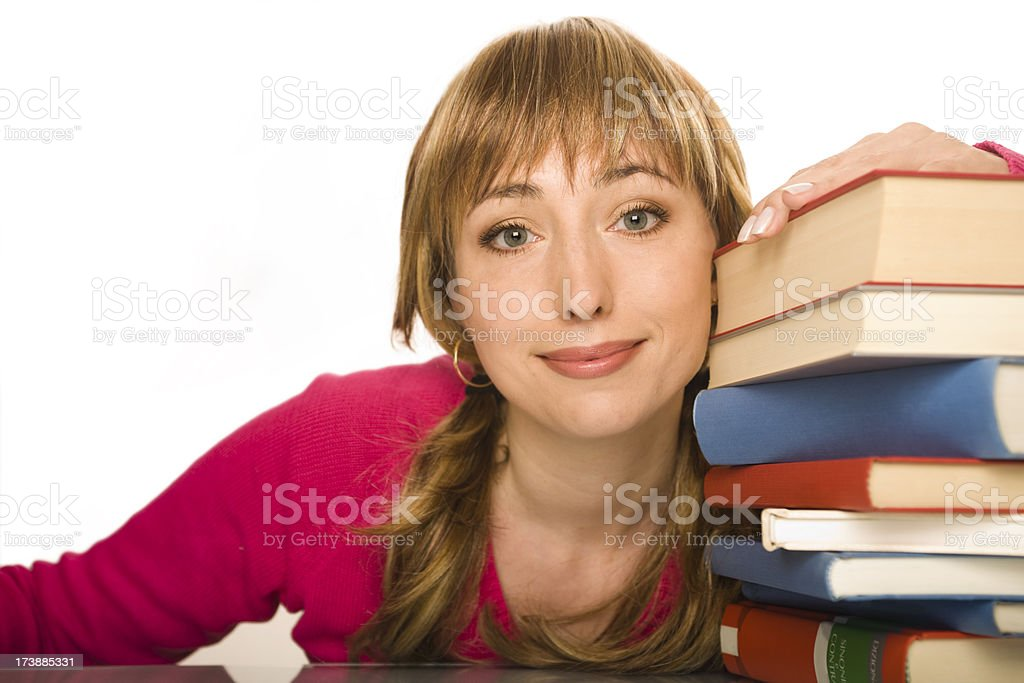 Student (the girl and books) royalty-free stock photo