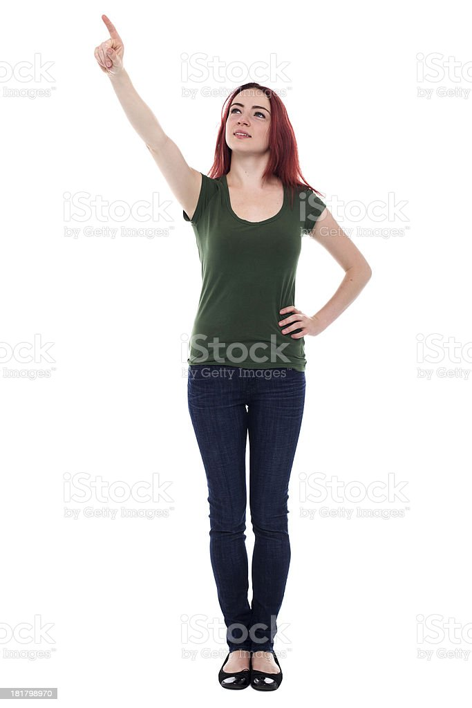Student pointing up above her head royalty-free stock photo