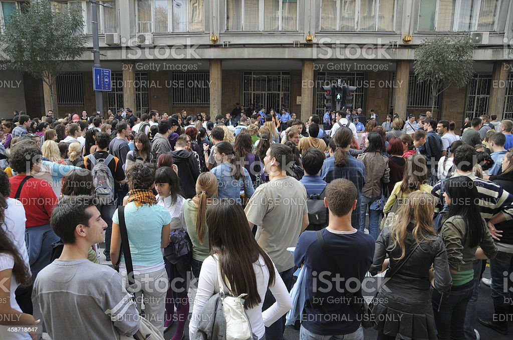 Student protests in Belgrade royalty-free stock photo