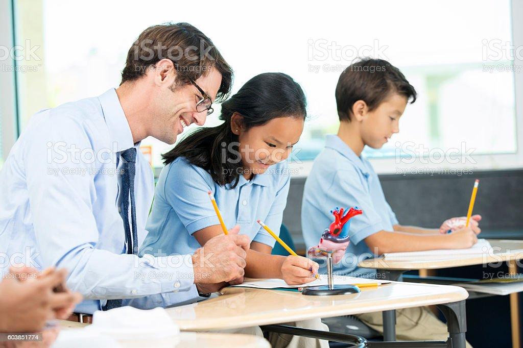 Student receiving help from teacher in biology class stock photo