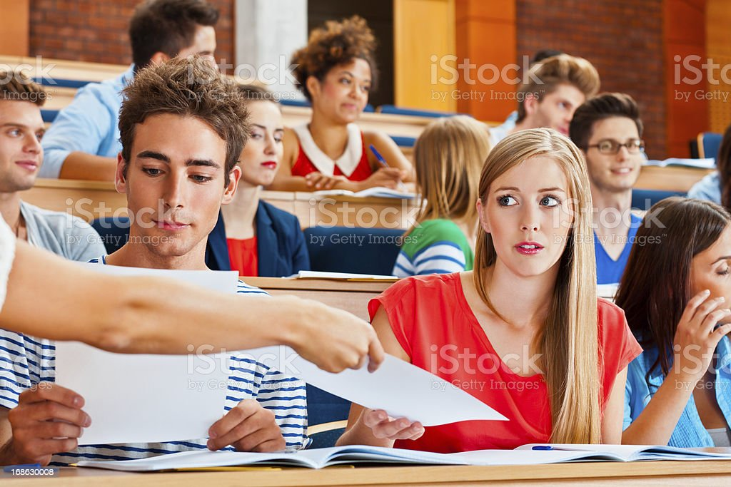 Student receiving test results stock photo