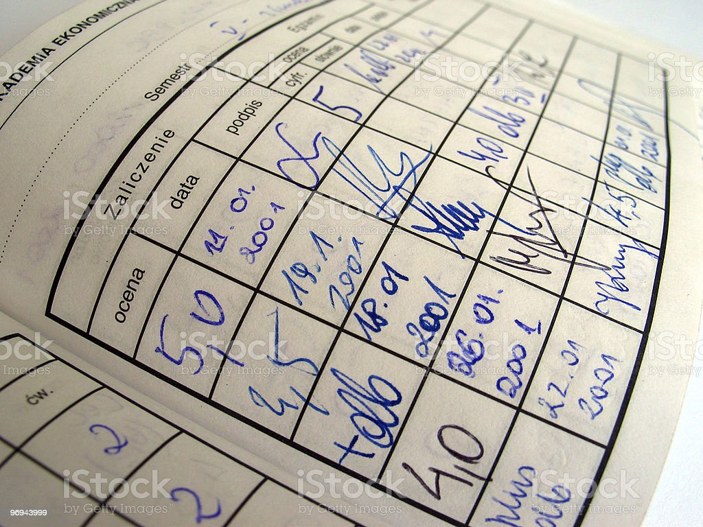 student record book with scores and signatures stock photo