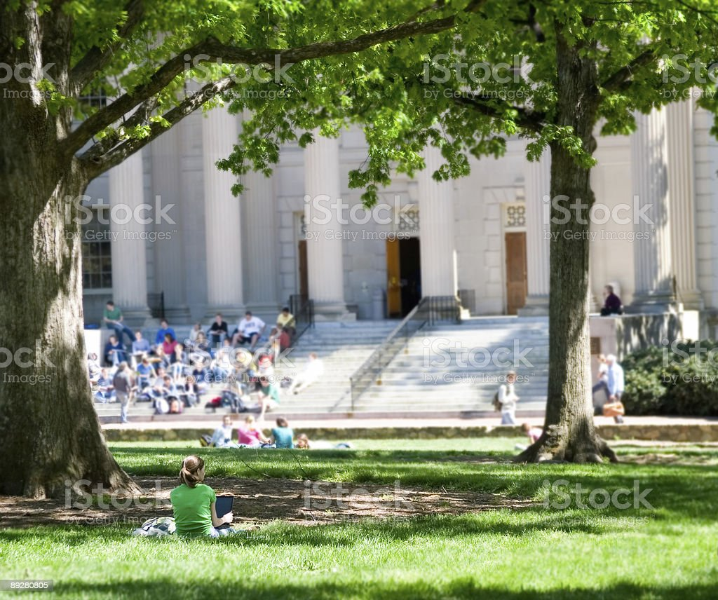 Student Relaxing on Campus stock photo