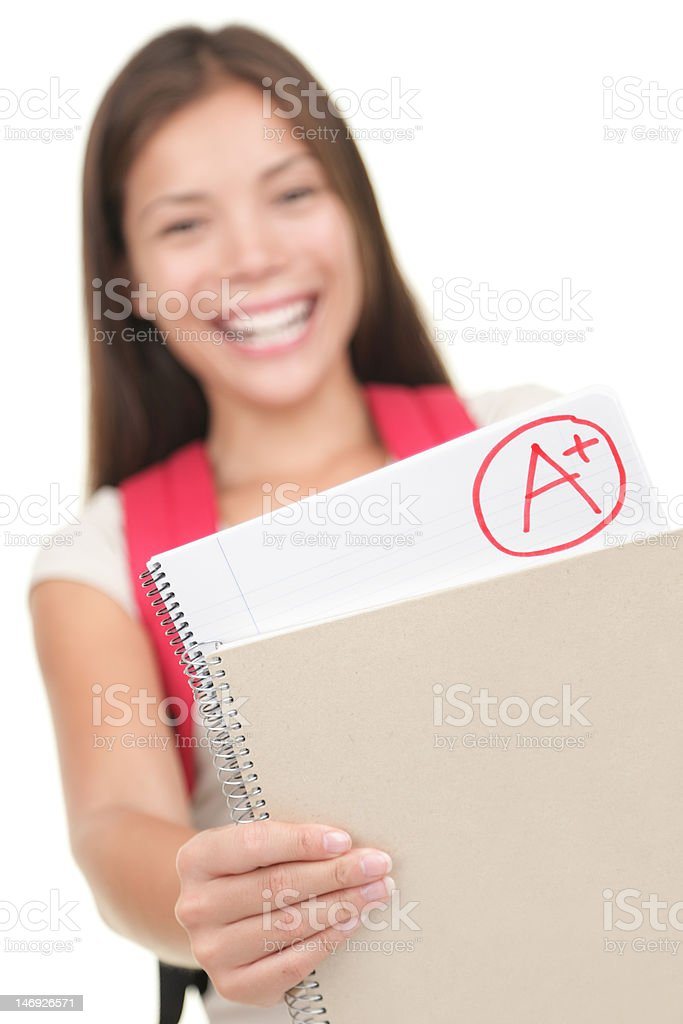 Student showing grade / test results royalty-free stock photo