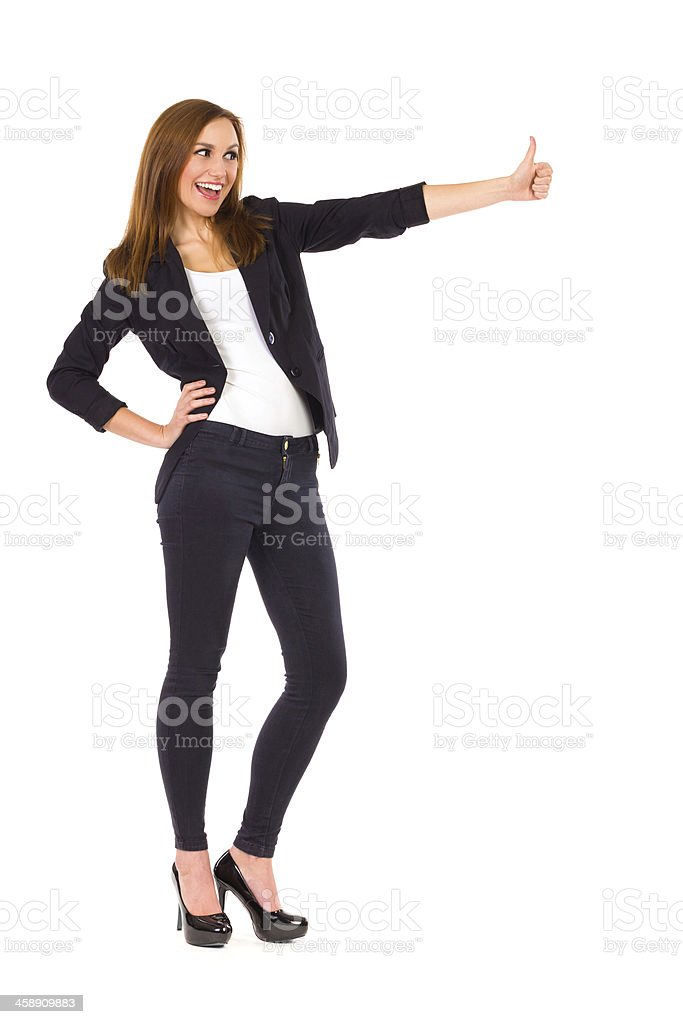 Student showing thumb up. royalty-free stock photo