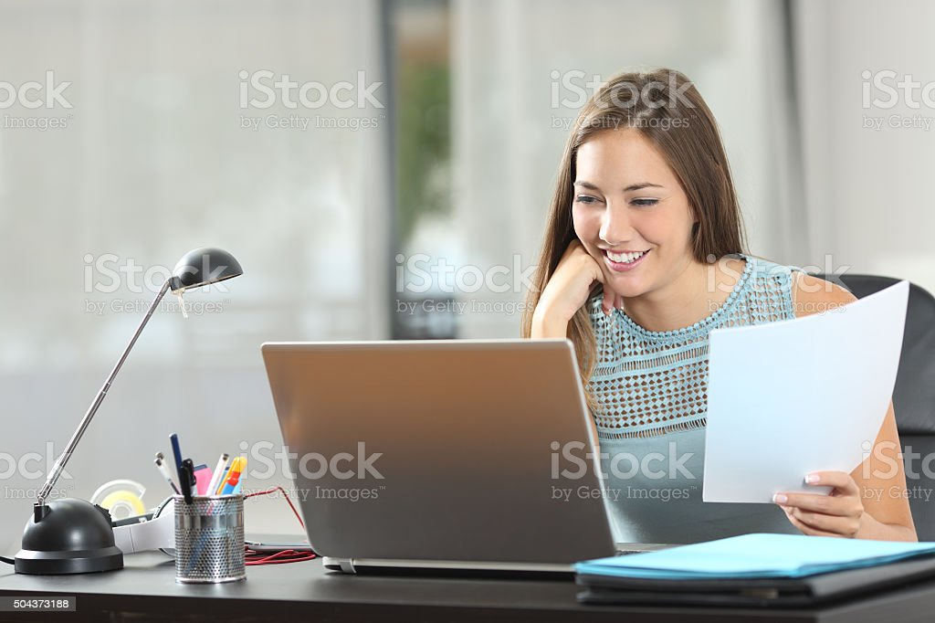 Student studying or entrepreneur working at home stock photo