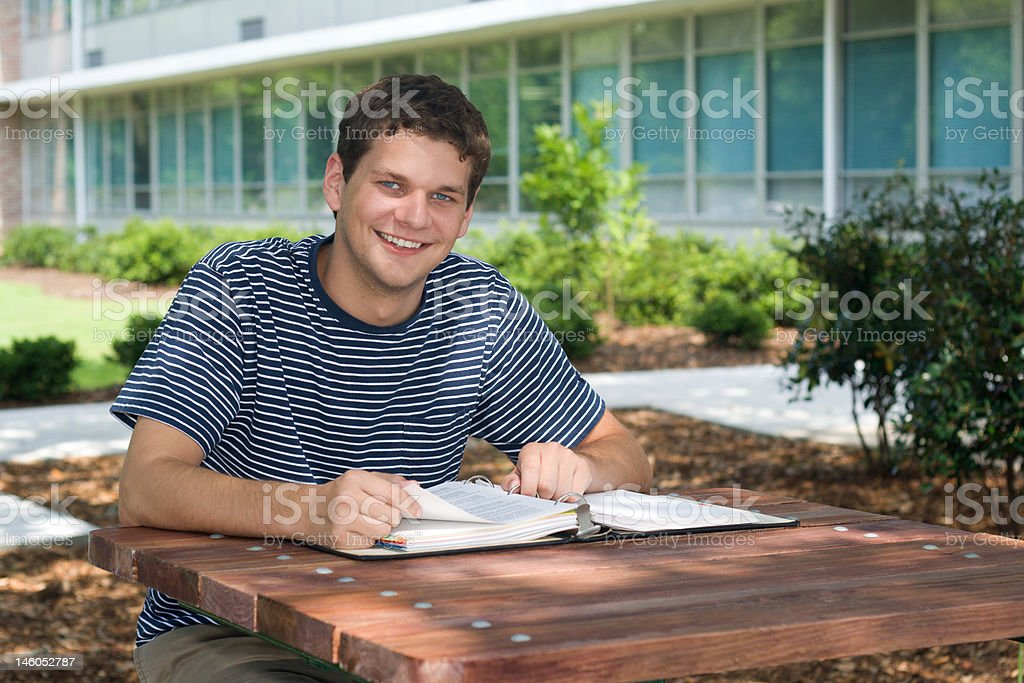 Student Studying Outdoors royalty-free stock photo