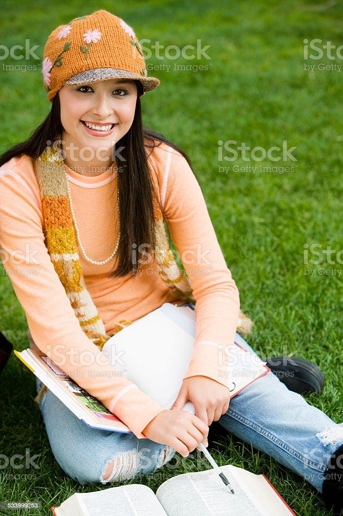 Student Studying Outside stock photo