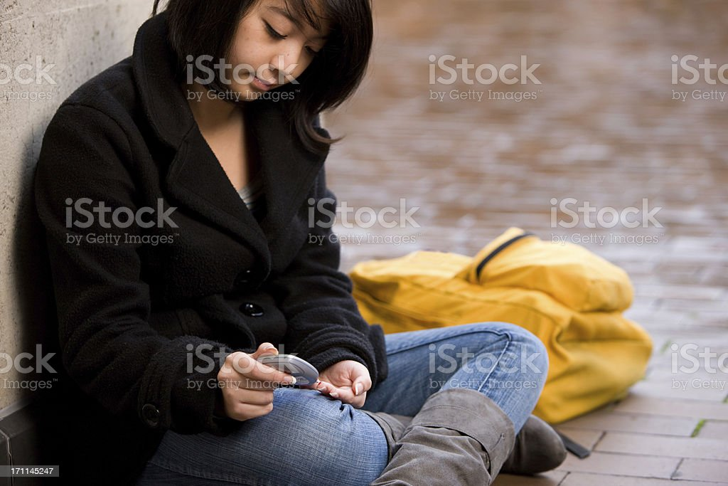 Student Tests Blood Sugar With Glucometer royalty-free stock photo