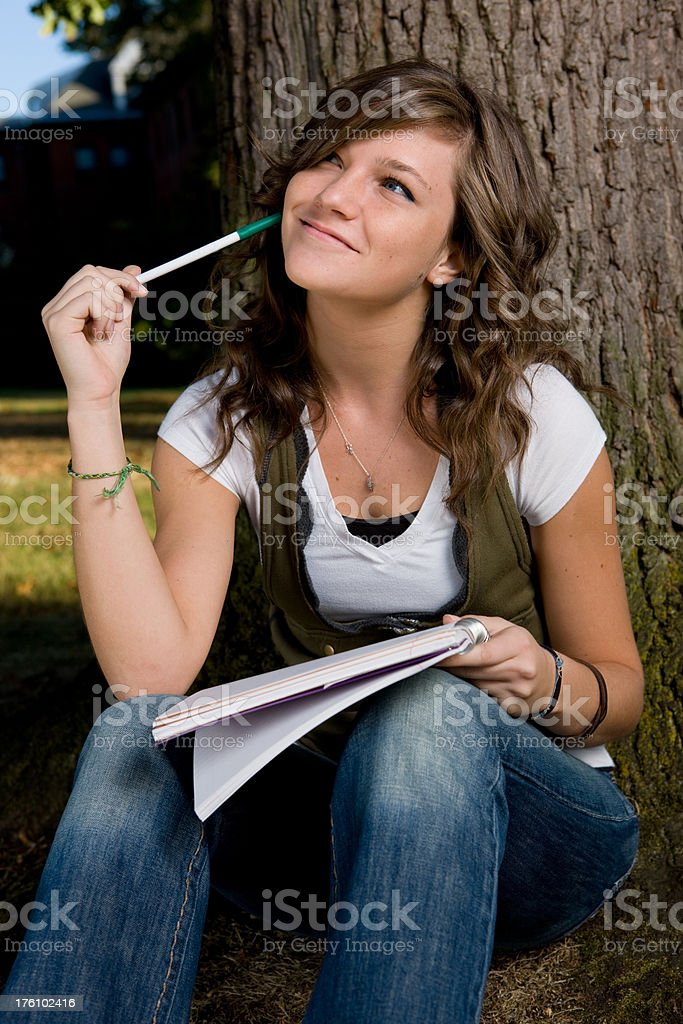 Student Thinking About Homework royalty-free stock photo