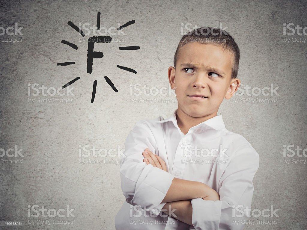 Student unhappy with his school grades stock photo
