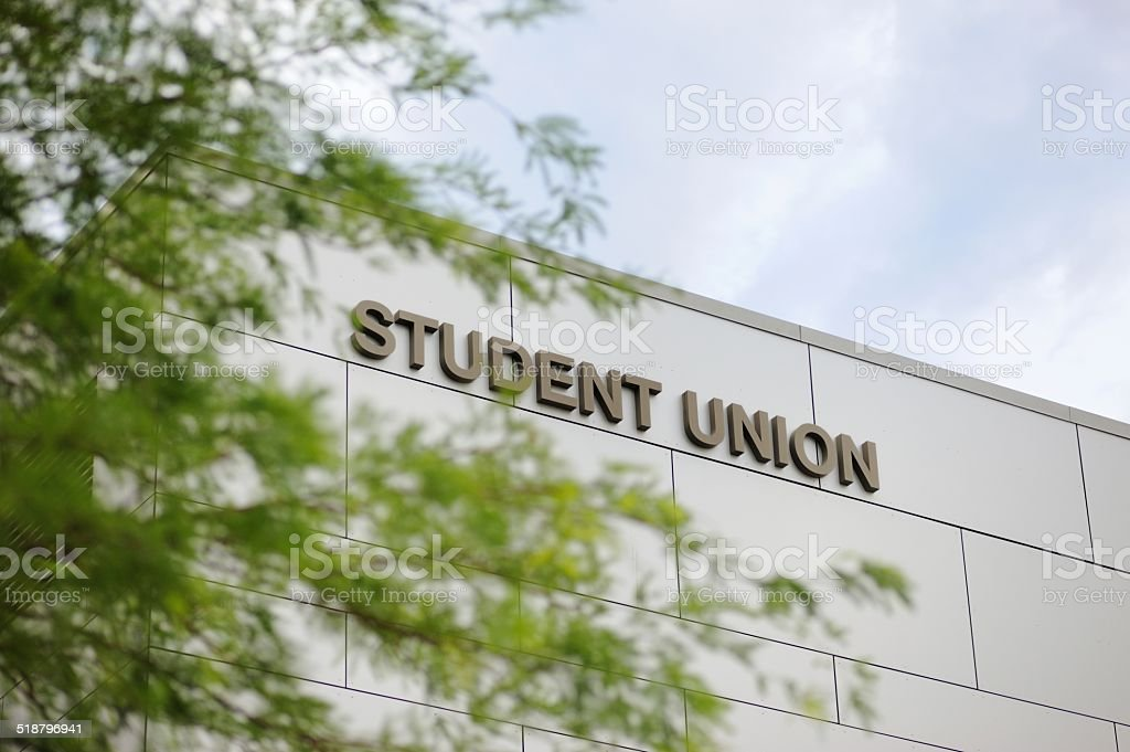Student union with sign stock photo