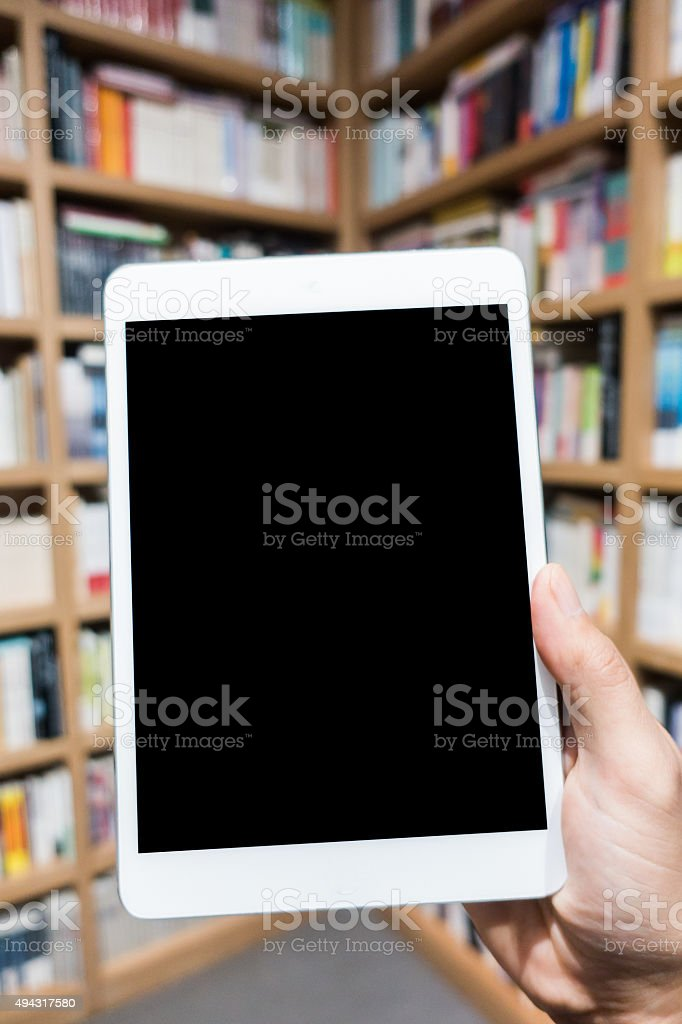 Student using a digital tablet stock photo