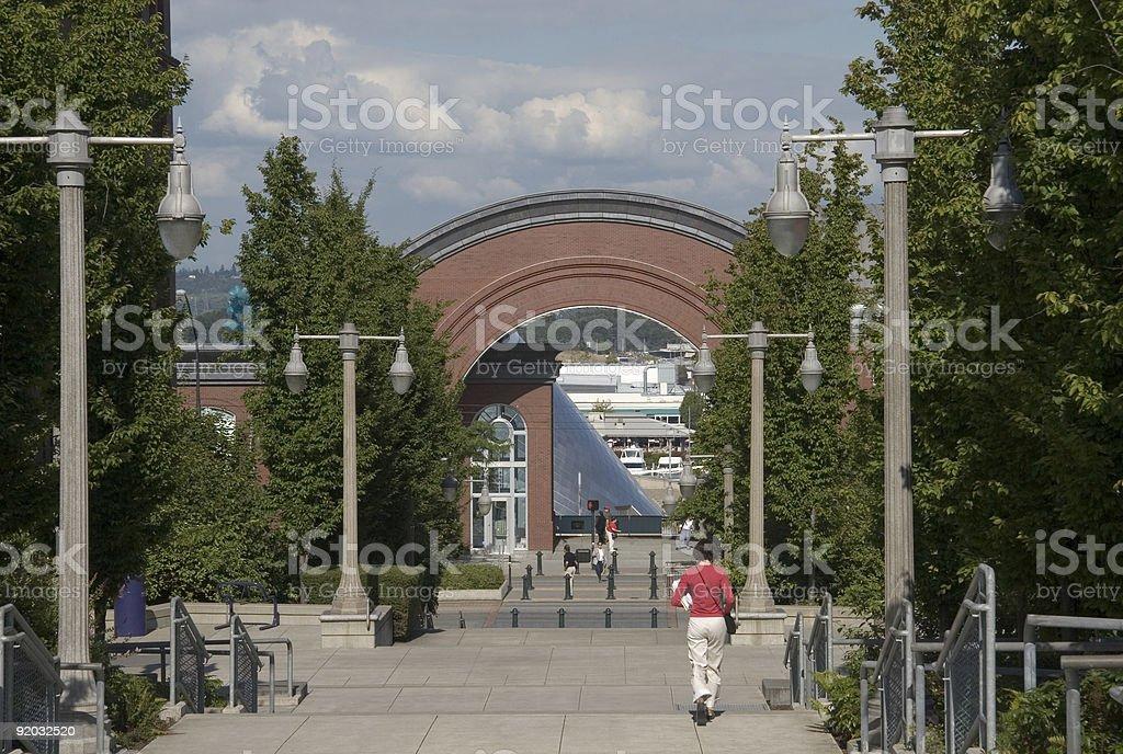 Student walking at the University of Washington Tacoma campus stock photo