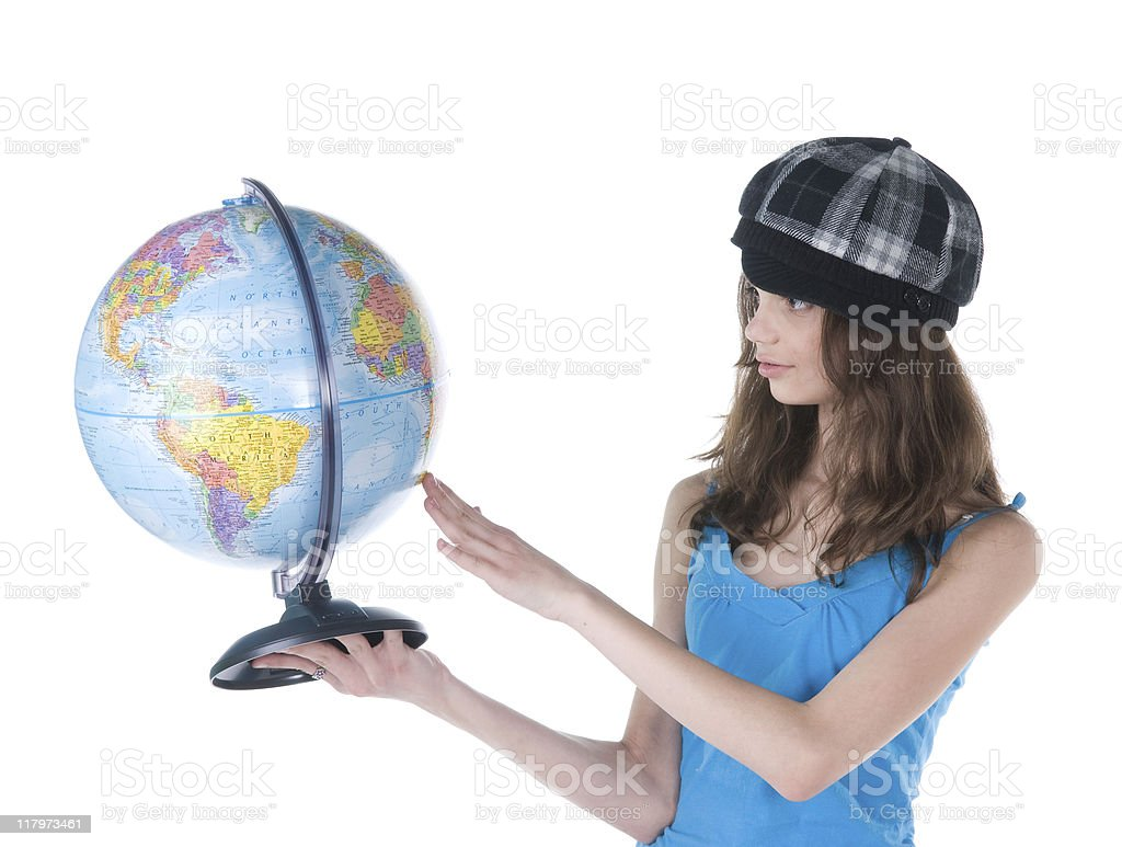 Student with Globe royalty-free stock photo