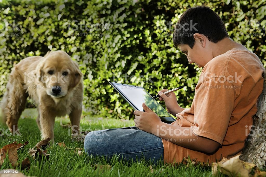 Student with Helpful Companion royalty-free stock photo