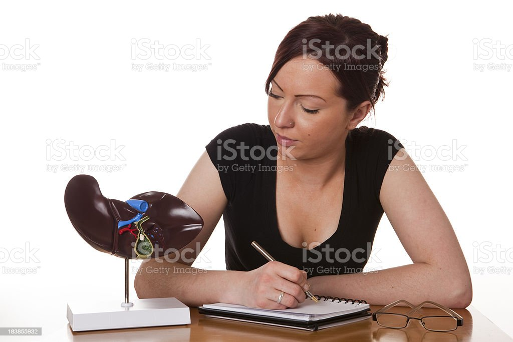 Student with liver model stock photo