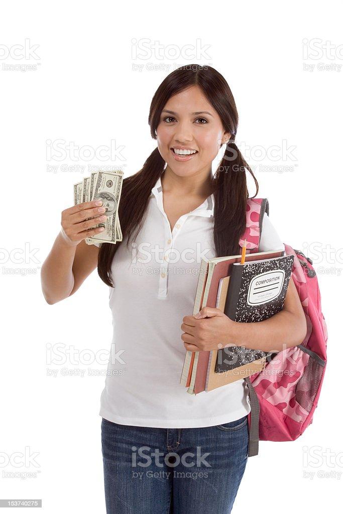 student with money stock photo