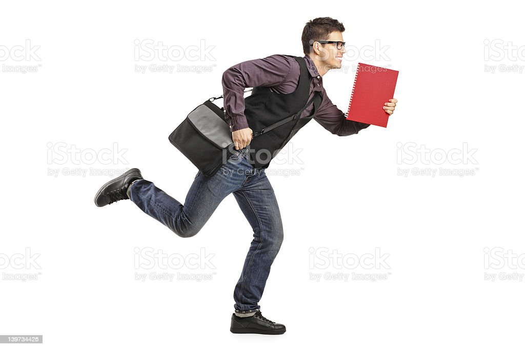 Student with notebook in rush running royalty-free stock photo