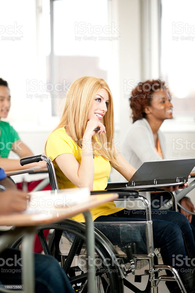 Student with wheelchair stock photo