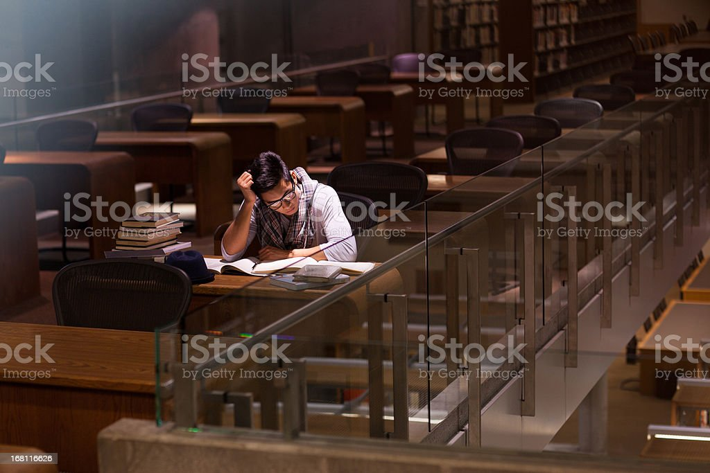 Student working in library royalty-free stock photo