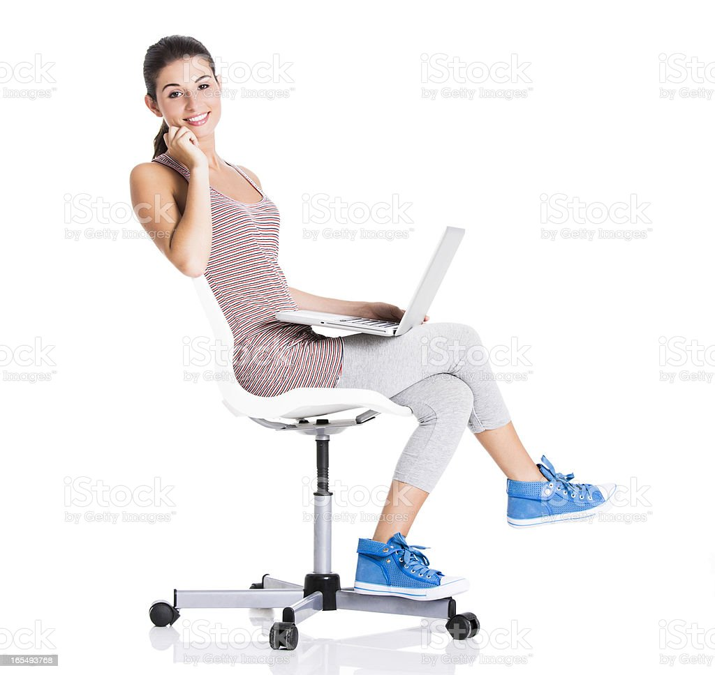 Student working on a laptop stock photo