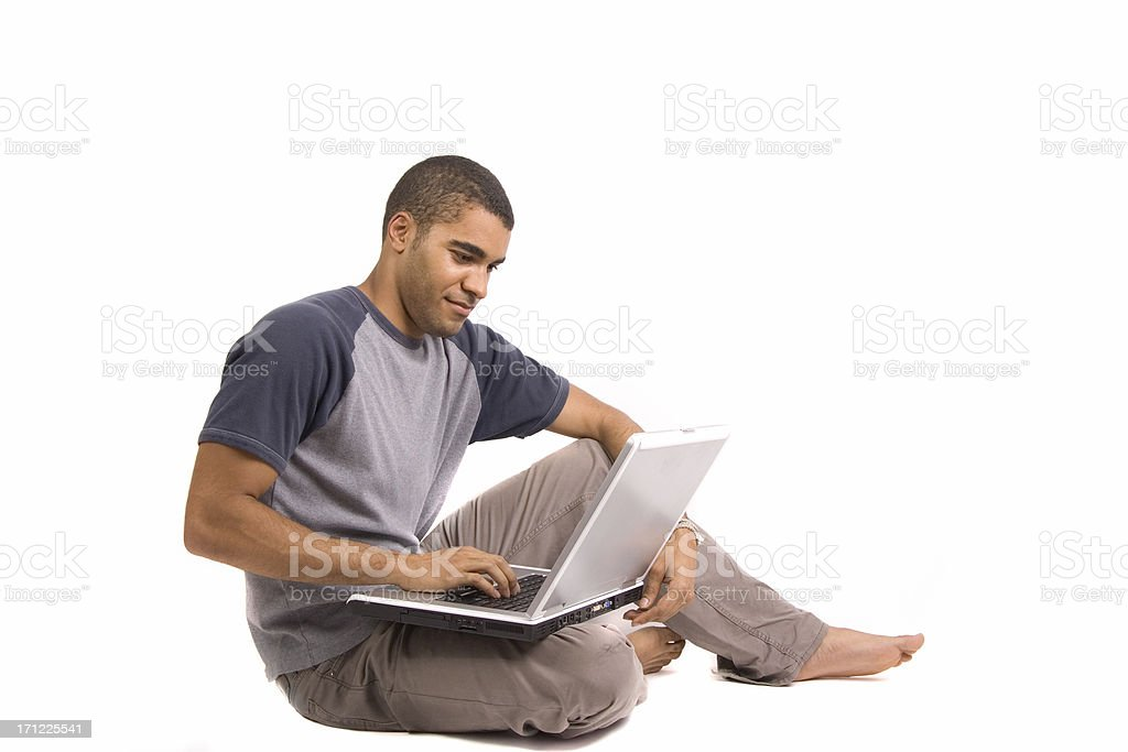 Student working on latop royalty-free stock photo