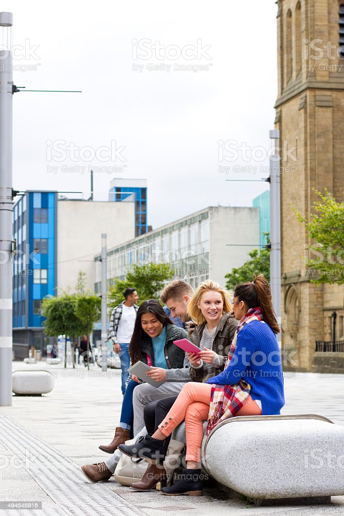 Students Addicted to Technology and the Internet stock photo