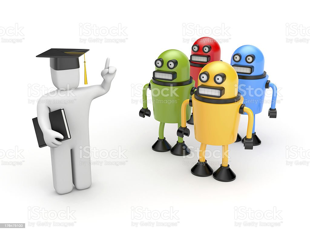 Students and lecturer or academic royalty-free stock photo