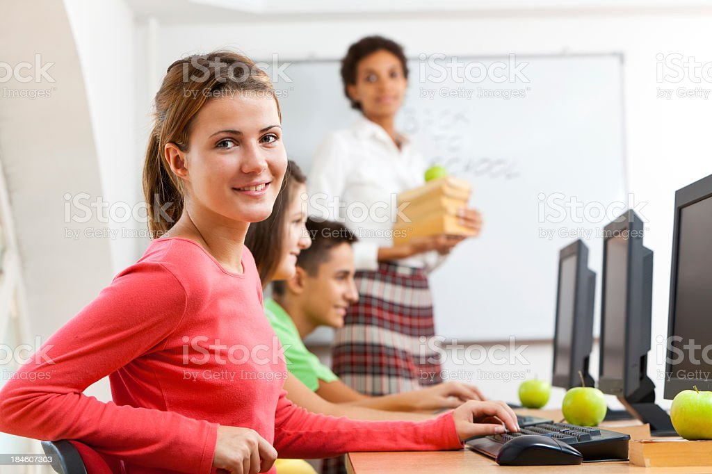 Students and teacher on computer class royalty-free stock photo
