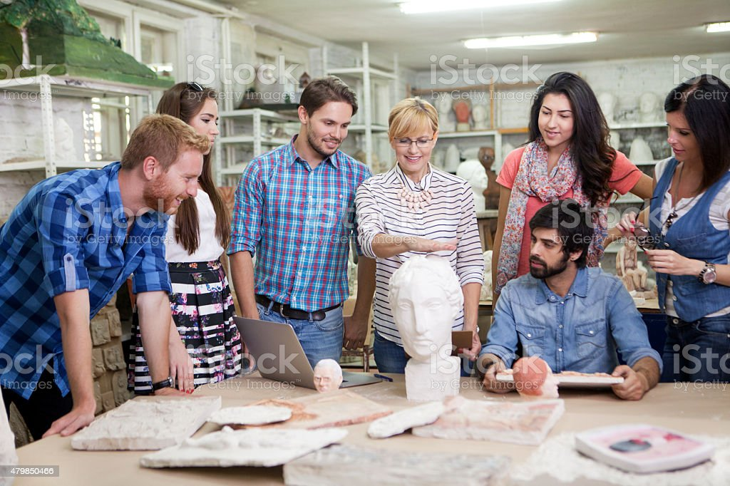 Students at sculpting classes and workshops stock photo