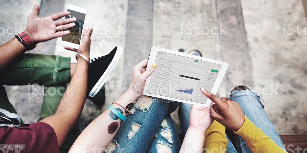 Students Break Analysis DIgital Tablet Mobile Phone Technology C stock photo