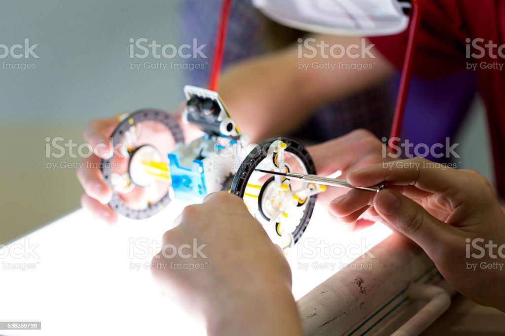 Students Building a Robot stock photo