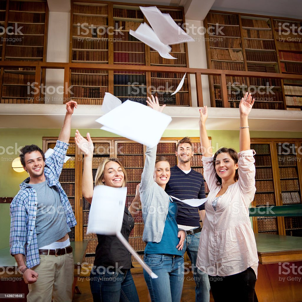 students celebrating stock photo