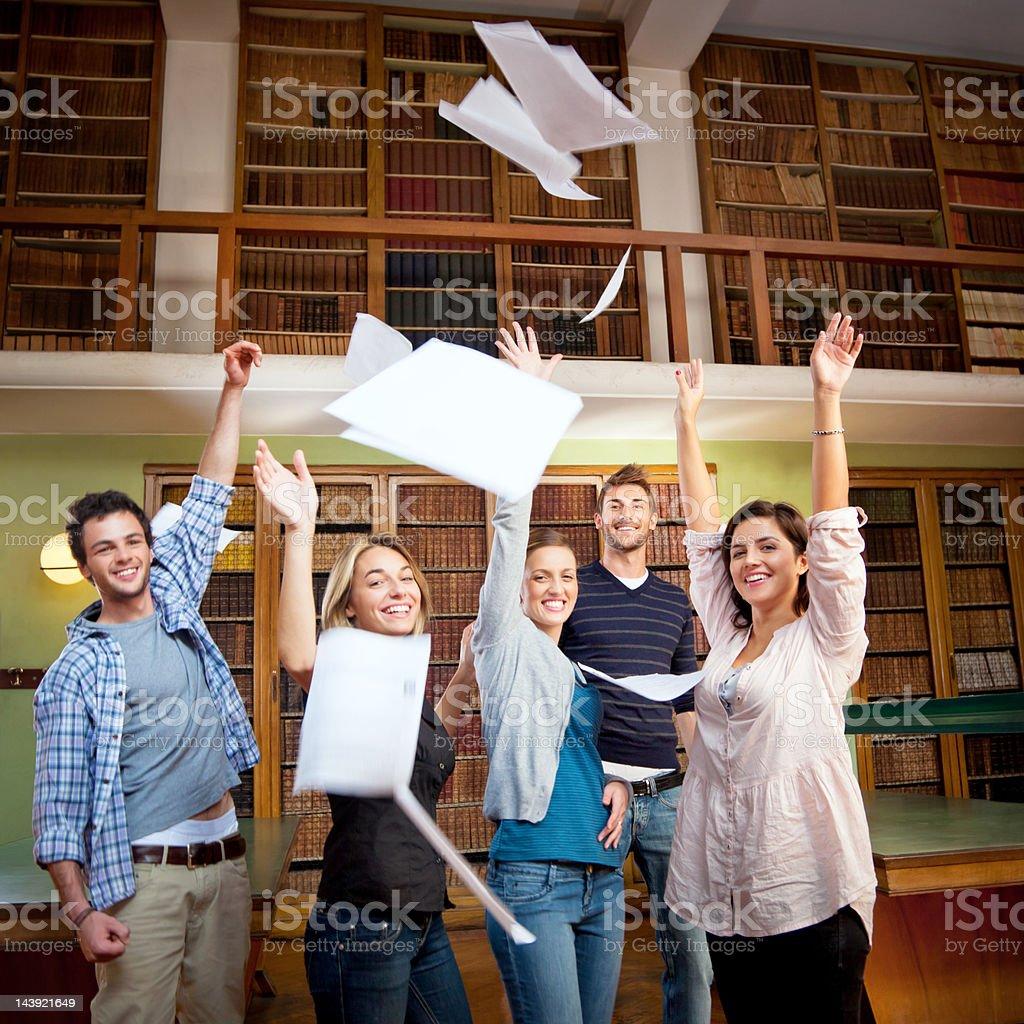students celebrating stock photo
