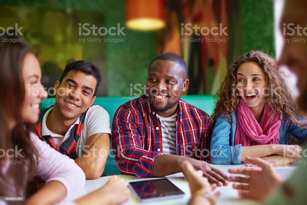 Students chatting stock photo
