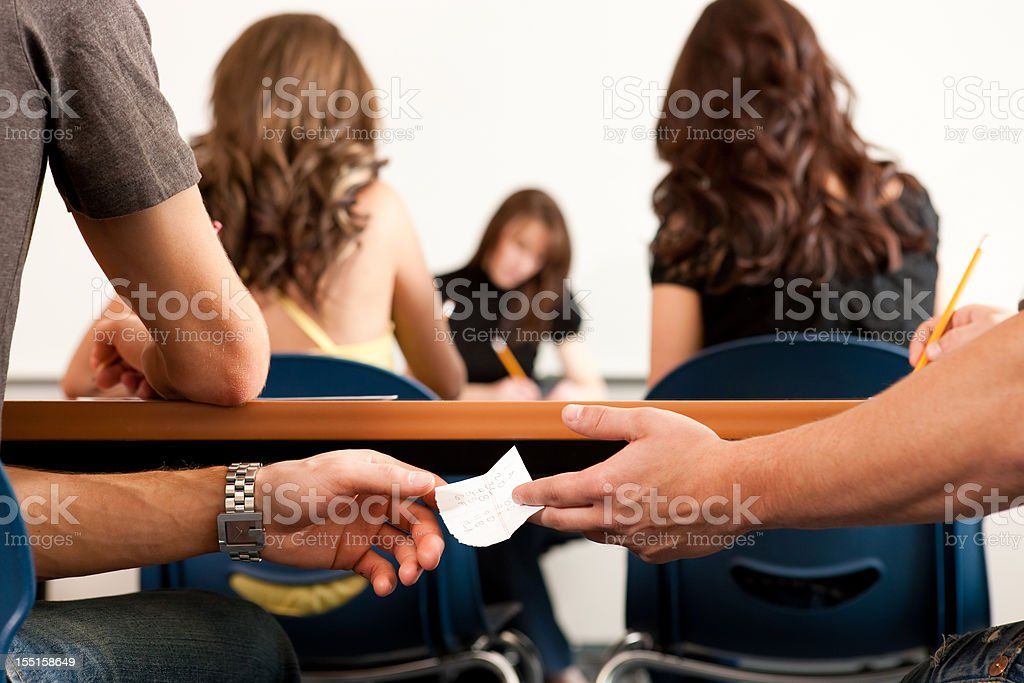 Students Cheating on Test royalty-free stock photo