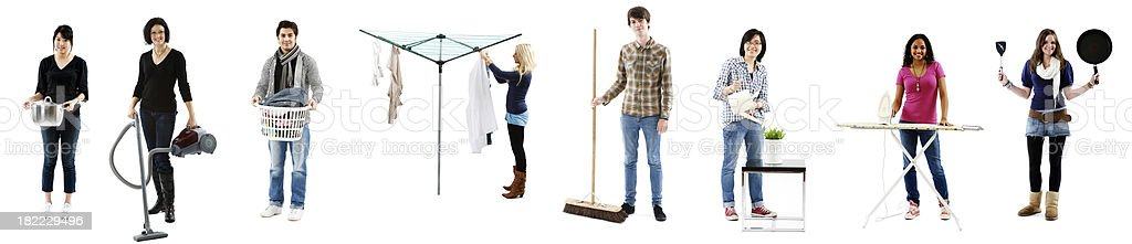 Students doing chores royalty-free stock photo