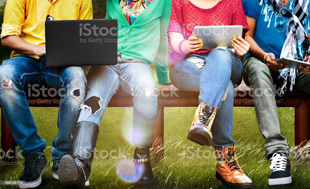 Students Education Social Media Laptop Tablet stock photo