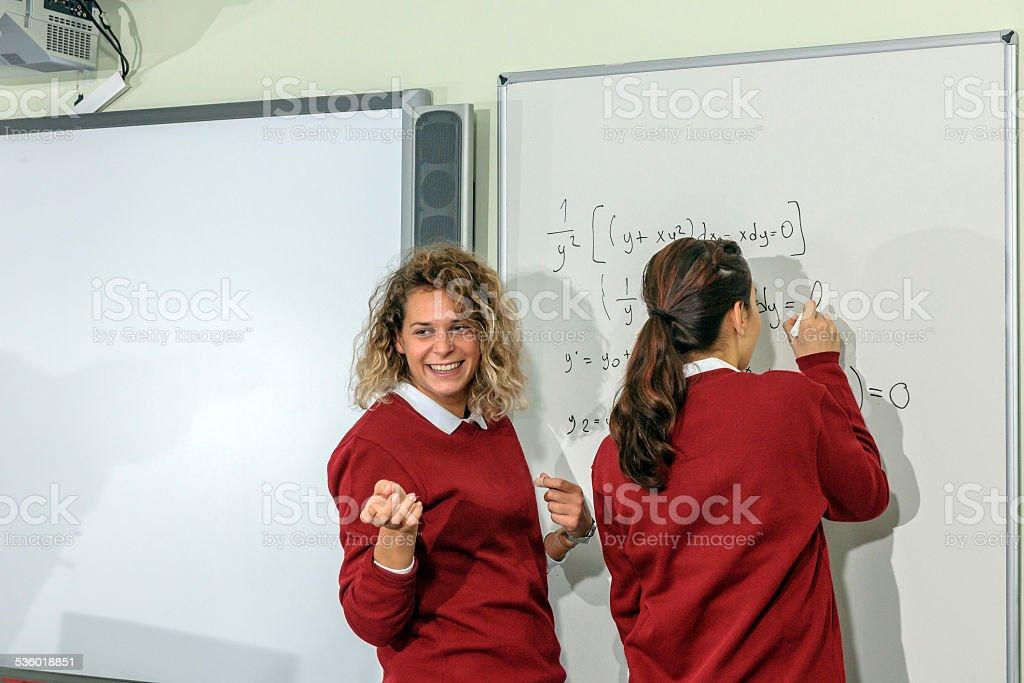 Students Explaining Math at Secondary School, University inIstanbul, Turkey stock photo